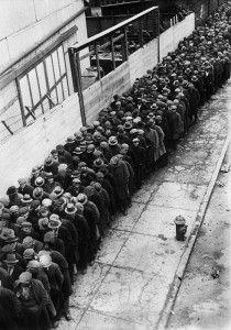 Men waiting for the chance of some work, 1930 USA
