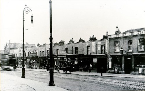 Gloucester road, Horfield around 1920. No 230 is behind the centre lamp-post!