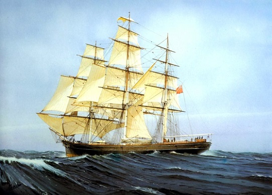 Cutty Sark by Cornelis de Vries as she appeared in the 1870's
